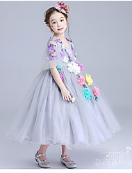 Ball Gown Tea-length Flower Girl Dress - Organza Jewel with Appliques Flower(s) Ruching