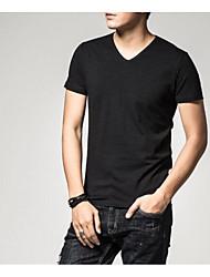 Tee-shirt Homme,Couleur Pleine Décontracté / Quotidien simple Manches Courtes Coeur Coton