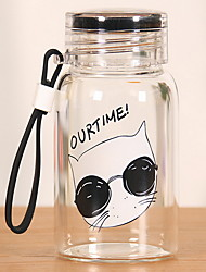 2Pcs Transparent Outdoor Drinkware 201-300 ml Portable Glass Water Water Bottle Random Pattern