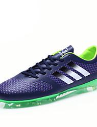 Sapatas do futebol dos homens faux couro preto / alaranjado / azul