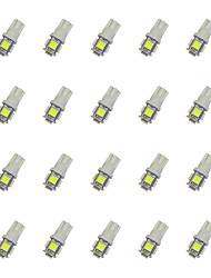 20pcs t10 5 * 5050 smd led voiture ampoule lumière blanche dc12v