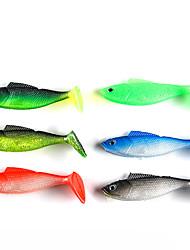 """4 pcs Leurre souple leurres de pêche Leurre souple Noir Vert Vert de jasmin Rouge Bleu Vert foncé g/Once,90 mm/3-1/2"""" pouce,SiliconePêche"""