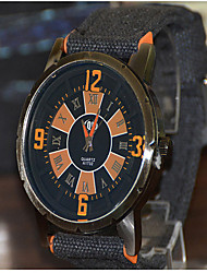 Men's Fashion Watch Quartz Fabric Band Black