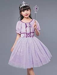 Ball Gown Knee-length Flower Girl Dress - Cotton Satin Tulle Jewel with Bow(s) Ruffles