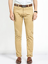Men's Mid Rise Stretchy Chinos Business Pants,Simple Slim Solid