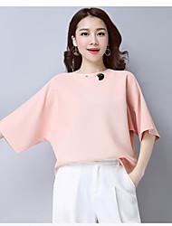 Damen Standard Pullover-Lässig/Alltäglich Solide Bateau Kurzarm Nylon Sommer Dünn Unelastisch