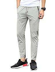 Hombre Chic de Calle Activo Cosecha Tiro Bajo Micro-elástica Chinos Pantalones,Delgado Un Color