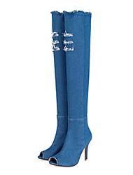 Damen Stiefel Komfort Neuheit Club-Schuhe Sommer Herbst Denim Jeans Walking Normal Kleid Party & Festivität Reißverschluss Stöckelabsatz