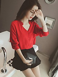 Women's Casual/Daily Street chic Spring Summer Blouse,Solid V Neck Long Sleeve Cotton Sheer