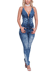 Women's Mid Rise JumpsuitsSexy Simple Street chic Skinny Denim Cut Out Slim Classic Backless Color Block