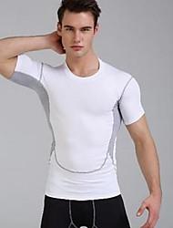 Men's Short Sleeve Running Breathable Comfortable Sports Wear Exercise & Fitness Polyester Slim White Black Dark Blue Gray Light Green