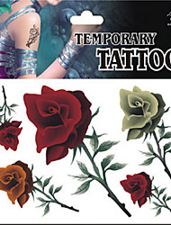 Temporary Tattoos Foot Body Romantic Series 3D Rose Waterproof Tattoos Stickers Non Toxic Glitter Large Fake Tattoo Halloween Gift 22*15cm