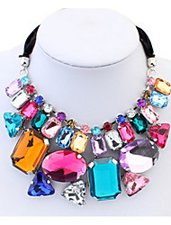 EuBig Gems Ribbon Necklace Euramerican Colorful Sweater Statement Collar Choker Necklace Vintage Women Jewelry