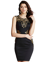 Women's Embroidery Club Sexy / Vintage Bodycon DressPatchwork Lace Hollow Out V Neck Above Knee Sleeveless Mid Rise