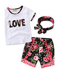 Girls' Going out Casual Print love SetsCotton Summer Short Sleeve shorts Clothing Set