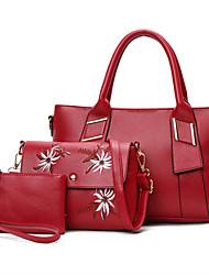 Mulheres outro tipo de couro saco casual conjuntos marrom rubi preto