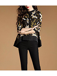 Women's Casual/Daily Vintage Spring Blouse,Floral Shirt Collar Long Sleeve Others Thin