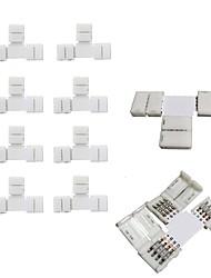 10pcs paquete de t forma sin soldadura encajar a presión 4conductor led tira conector para conexión rápida divisor de 10 mm de ancho 5050