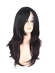 Long Straight Side Black Red Women Synthetic Wig Fiber Cheap Cosplay Party Hair