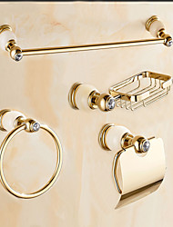 Contemporary Cream Jade Gold Brass 4PCS Bathroom Accessory Set  Towel Bar Towel Ring Soap Holder Paper Holder