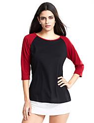 Damen Einfarbig Einfach / Street Schick Lässig/Alltäglich T-shirt,Rundhalsausschnitt Alle Saisons ¾-Arm Blau / Weiß / Schwarz / Grau
