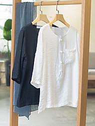 Masculino Camisa Social Casual Simples Primavera Verão,Sólido Algodão Colarinho Chinês Manga ¾ Fina