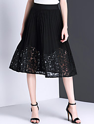 Women's Mid Rise Midi Skirts,Simple Cute Swing Cut Out Solid