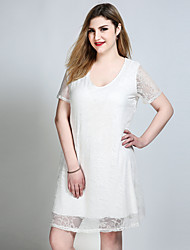 Really Love Women's Plus Size Casual/Daily Party Sexy Simple Cute A Line Lace Swing Dress,Solid U Neck Knee-length Short SleeveModal Polyester