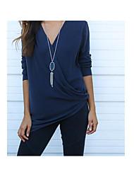 Tee-shirt Femme,Couleur Pleine simple Manches Longues Col en V Soie