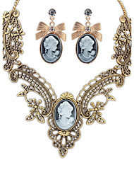 2Pcs/set Necklace& Drop Earring Lady Palace Euramerican Sweater Statement Collar Choker Necklace Vintage Women Statement Jewelry Sets