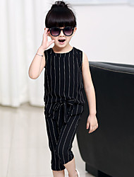 Girls' Fashion In Lovely Bar T-shirt  Wide-Legged Pants Two-Piece Dress