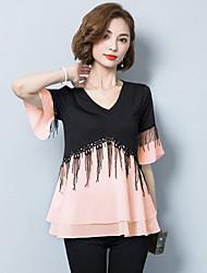 Damen Einfarbig Einfach Lässig/Alltäglich T-shirt,V-Ausschnitt Kurzarm Polyester