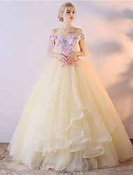 Ball Gown Off-the-shoulder Asymmetrical Tulle Formal Evening Dress with Embroidery