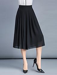 Femme simple Taille Haute Micro-élastique Chino Pantalon,Ample Mousseline de Soie Plissé Effets superposés Couleur Pleine