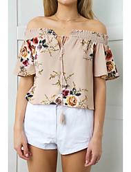 Damen Druck Sexy Einfach Street Schick Ausgehen Lässig/Alltäglich T-shirt,Bateau Sommer Herbst Kurzarm Baumwolle Mittel