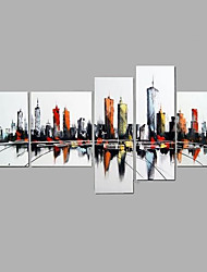 Hand-Painted Modern Abstract City Scene Oil Painting Five Panel Canvas Oil Painting Multi Split Oil Painting