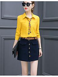 Damen einfarbig Einfach Arbeit Shirt Rock Anzüge,Hemdkragen Riemengurte Kunstseide Unelastisch