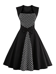 Women's Party Vintage Swing Dress,Polka Dot Square Neck Knee-length Sleeveless Cotton All Seasons Mid Rise Micro-elastic Medium