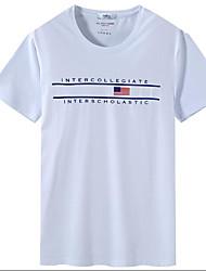 Tee-shirt Homme,Imprimé Lettre Décontracté / Quotidien simple Manches Courtes Col Arrondi Coton