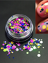 1bottle fashion round slice decoration douce couleur nail art laser glitter round paillette nail art diy beauté tranche p22