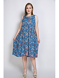 Really Love Women's Plus Size Casual/Daily Party Sexy Vintage Cute Loose T Shirt Tunic Dress,Floral Round Neck Midi Sleeveless Cotton PolyesterSpring