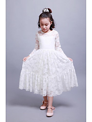 A-line Ankle-length Flower Girl Dress - Cotton Long Sleeve Jewel with Lace Pleats