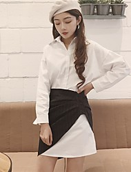 Damen einfarbig Vintage Ausgehen Shirt Rock Anzüge,Hemdkragen Lange Ärmel