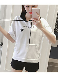 Women's Casual/Daily Hoodie Solid Letter Hooded Micro-elastic Cotton Acrylic Short Sleeve