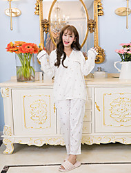 Women's Sleepwear Set Cute Cherry Pattern Long Sleeve Button-Up Sweet Home Suit