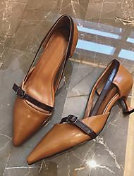 Женские туфли на каблуке&Вечер темно-коричневый бежевый