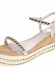 Damen-Sandalen-Lässig-PUKomfort-Gold Silber Mandelfarben