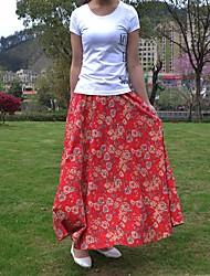 Feminino Cintura Alta Midi Saias,Balanço Floral