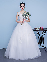 A-line Wedding Dress Floor-length Scoop Cotton Tulle with Lace