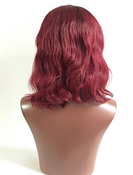 Beata Hair  Brazilian Remy Human Hair 1b/99J Bob Wavy Lace Front Wig Natural Hairline